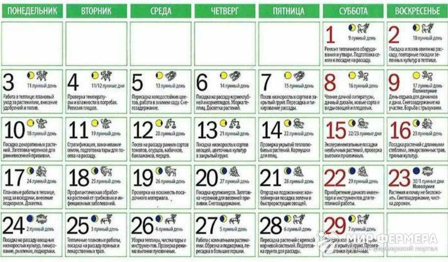 Лунный календарь на февраль
