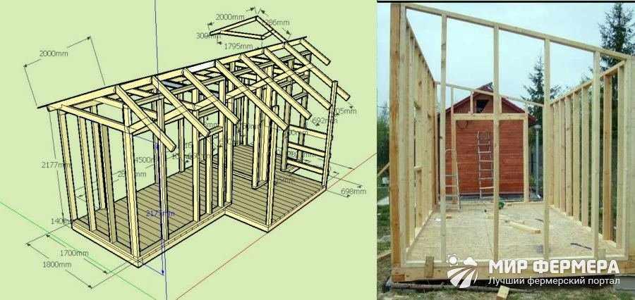 Строительство стен в сарае
