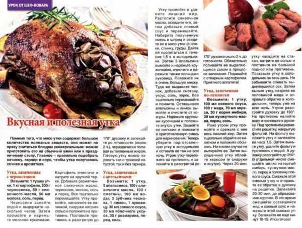 Рецепт по приотовлению мяса утки