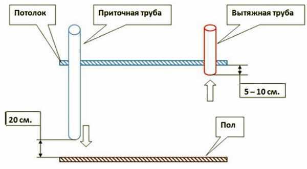 Схема вентеляционной системы свинарника