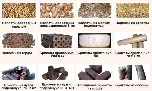 Виды пеллет из разных материалов