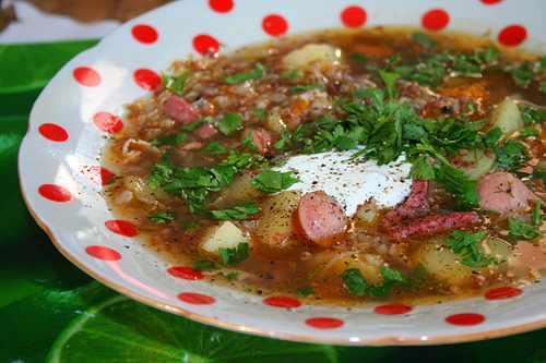 гречневый суп с копченостями