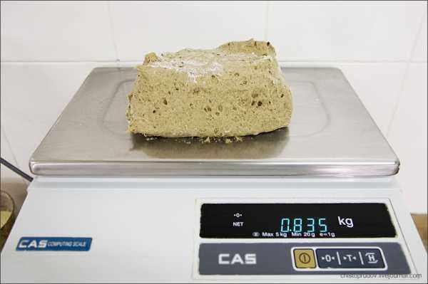 Взвешивание теста для хлеба