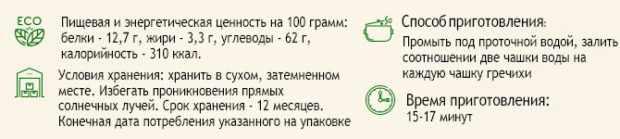 Пищевая ценность зеленой гречки