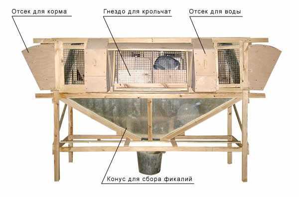Устройство клетки Михайлова для кроликов