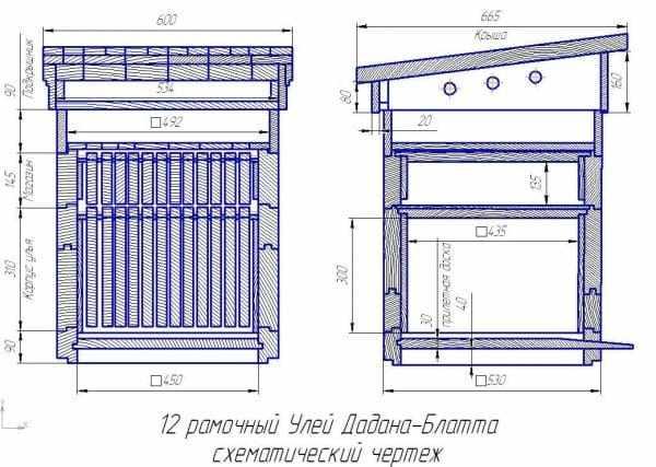 Размеры улья Дадана на 12 рамок: чертеж